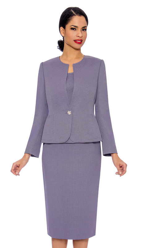Giovanna S0713-LV ( 3pc Womens Jacquard Church Suit With Rhinestone Button )