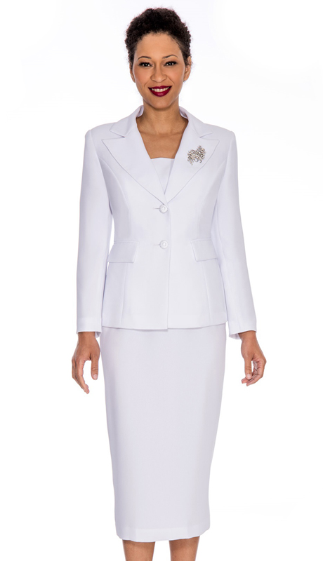 Giovanna 0710-WH ( 2pc Womens PeachSkin Suit With Two Button Closure Jacket And Skirt )