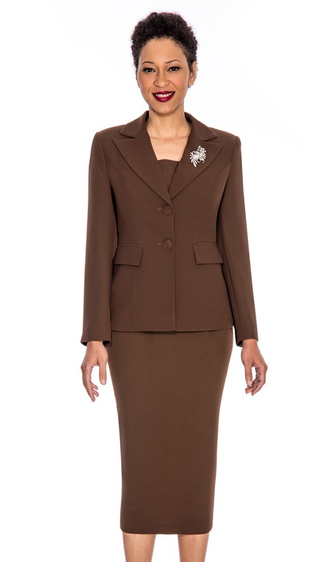 Giovanna 0710-CH ( 2pc Womens PeachSkin Suit With Two Button Closure Jacket And Skirt )