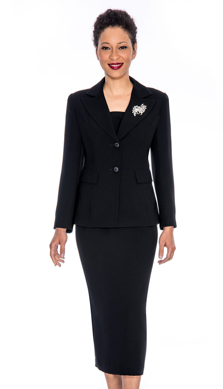 Giovanna 0710-BL ( 2pc Womens Suit With Two Button Closure Jacket And Skirt )