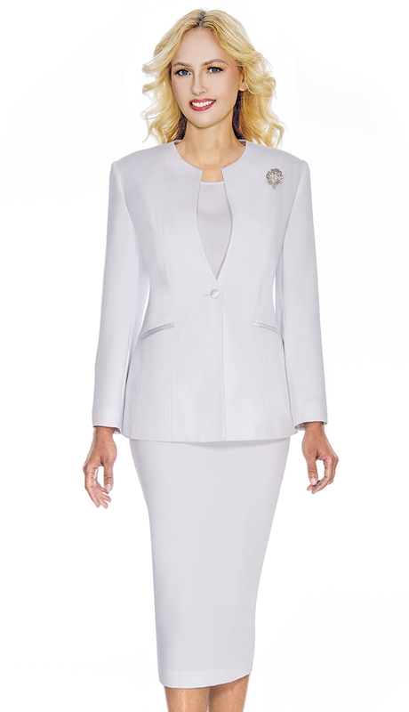 Giovanna 0708-WH ( 3pc Womens PeachSkin Suit With Detachable Brooch And Collarless Jacket )