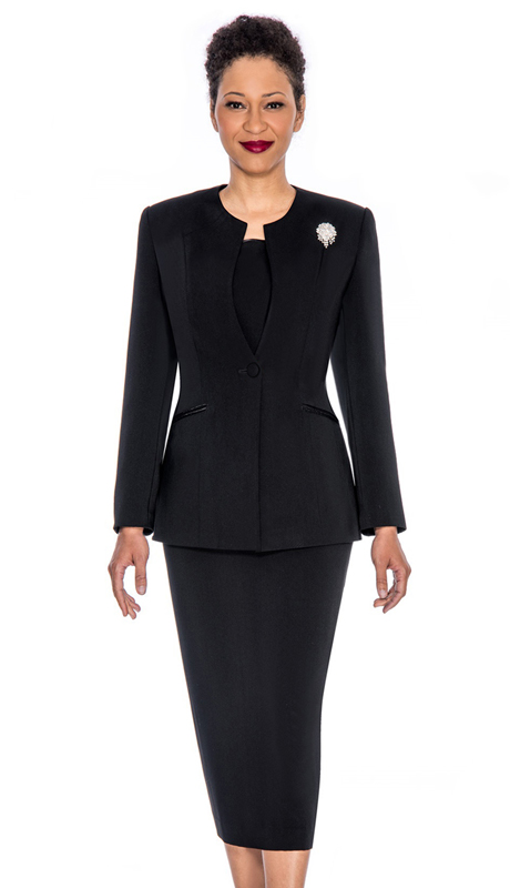 Giovanna 0708-BL ( 3pc Womens Peachskin Suit With Detachable Brooch And Collarless Jacket )