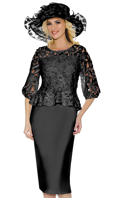 Giovanna D1351-BL ( 2pc Layered Lace Church Suit With Silk Look Solid Skirt )