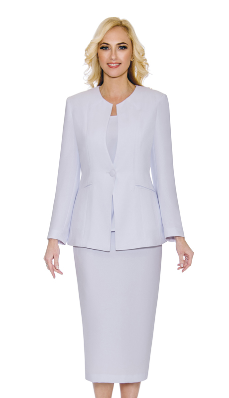 Giovanna S0301-WH ( 3Pc Womens PeachSkin Suit With Button Closure Jacket Skirt And Cami )