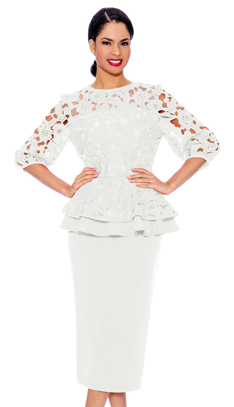 Giovanna 0930-WH ( 2pc Lace With PeachSkin First Lady Suit With Layered Top And Solid Skirt )