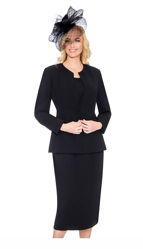 Giovanna S0301-BL ( 3Pc Womens Suit With Button Closure Jacket Skirt And Cami )