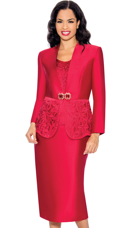 Giovanna G1070-RE-CO ( 3pc Ladies Silk Look Church Suit With Sequin Trim And Cut Out Detail On Cami And Jacket )