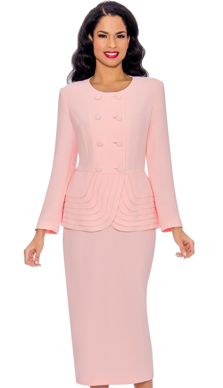 Giovanna 0902-PI ( 2pc PeachSkin Double Breasted Skirt Suit With Layered Peplum Jacket )