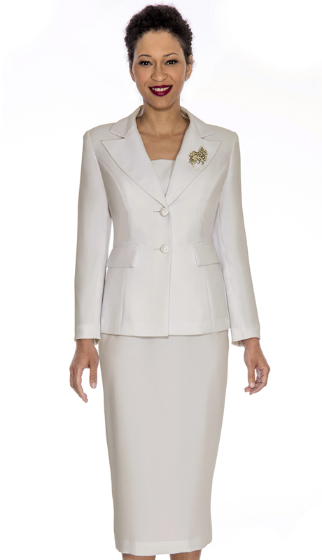 Giovanna 0710-IV ( 2pc Womens PeachSkin Suit With Two Button Closure Jacket And Skirt )