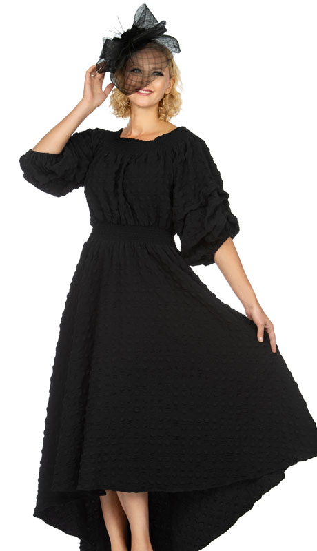 Giovanna 1527-BLK ( 1pc Popcorn Off Shoulder With Lantern Sleeves Dress For Church )