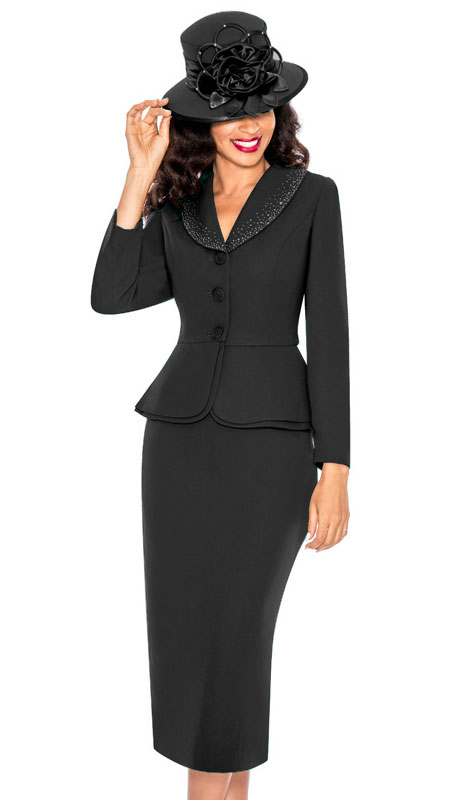 Giovanna 0709-BL ( 2pc PeachSkin Church Suit With Layered Peplum Jacket And Rhinestone Trimmed Collar )