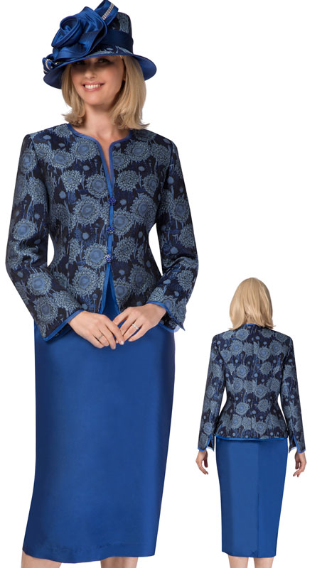 Giovanna 0935-SA ( 2pc Suit With Collarless Floral Brocade Jacket And Solid Skirt )