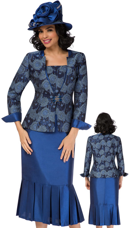 Giovanna 0933-SA ( 3pc Novelty Church Suit With Pleated Solid Skirt And Printed Jacket With Roll Up Cuffs )
