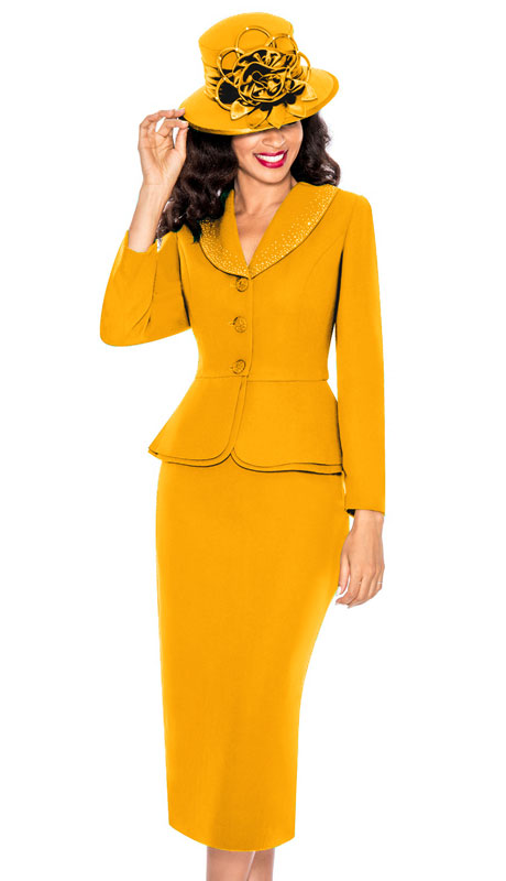 Giovanna 0709-AP ( 2pc PeachSkin Church Suit With Layered Peplum Jacket And Rhinestone Trimmed Collar )
