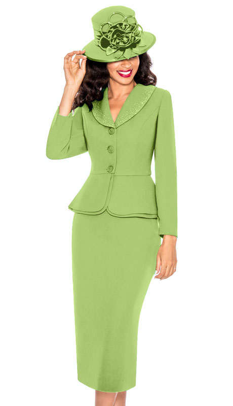 Giovanna 0709-LI ( 2pc PeachSkin Church Suit With Layered Peplum Jacket And Rhinestone Trimmed Collar )