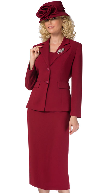 Giovanna 0710-BU ( 2pc Womens PeachSkin Suit With Two Button Closure Jacket And Skirt )