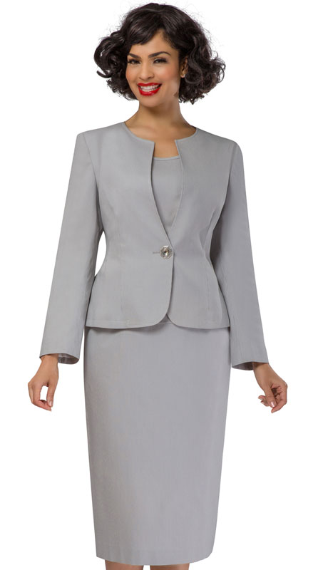 Giovanna S0713-SI ( 3pc Womens Renova Church Suit With Rhinestone Button )