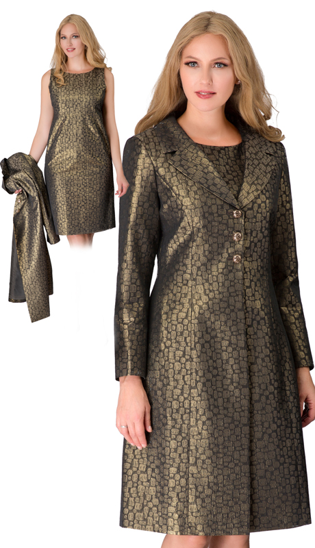 Giovanna S1112-AG ( 2pc Brocade Duster Jacket With Notch Collar And Dress )