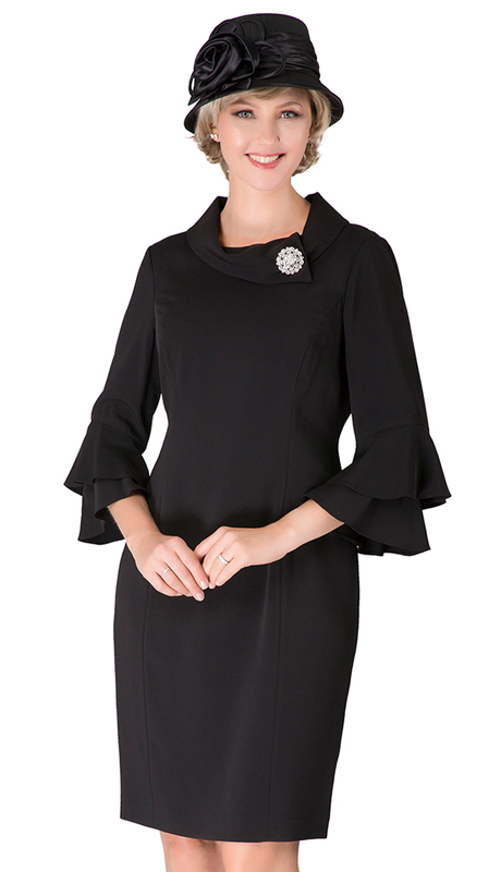 Giovanna D1518-BK ( 1pc PeachSkin Dress With Cowl Neck, 3/4 Ruffle Sleeve And Brooch )