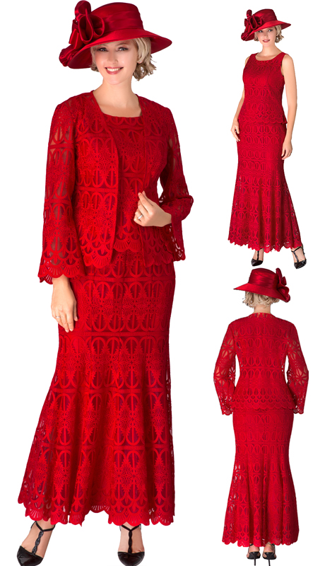 Giovanna 0946-RE-CO ( 3pc Lace Womens Dress For Church With Stunning Scallop Edging )