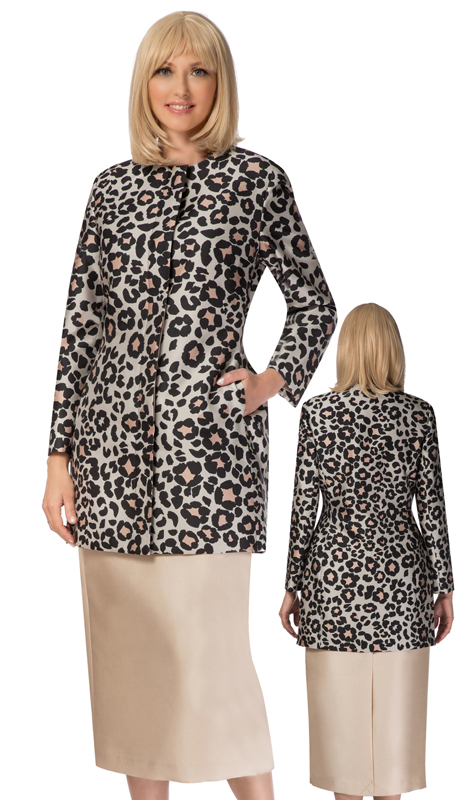 Giovanna G1120-CH ( 3pc Silk Look Suit For Sunday With Leopard Print Cami )