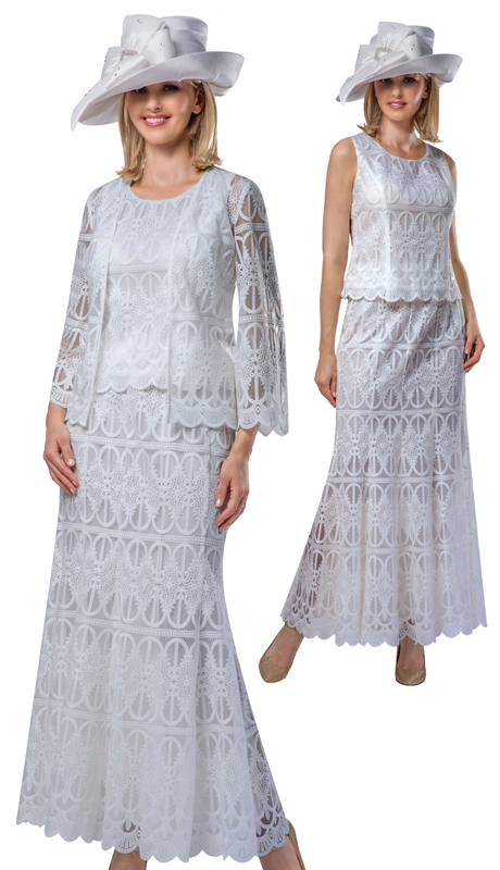 Giovanna 0946-WH ( 3pc Lace Womens Dress For Church With Stunning Scallop Edging )