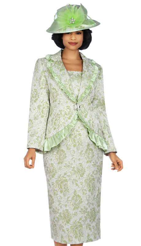 Giovanna 0937-LI ( 3pc Metallic Brocade Church Suit With Satin Ruffle )