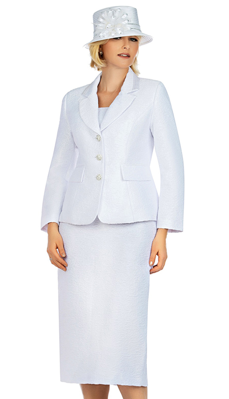 Giovanna G1121-WH ( 2pc Novelty Church Suit With Notch Collar And Textured Pattern )