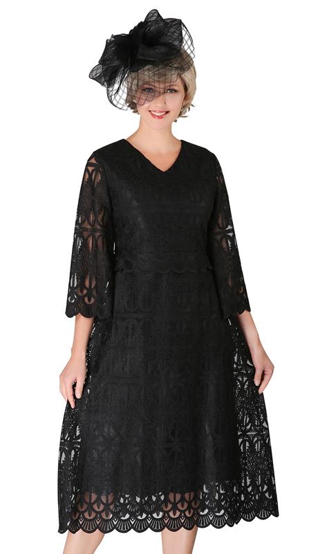 Giovanna D1520-BL ( 1pc Lace V-Neck Dress With Scallop Hems )