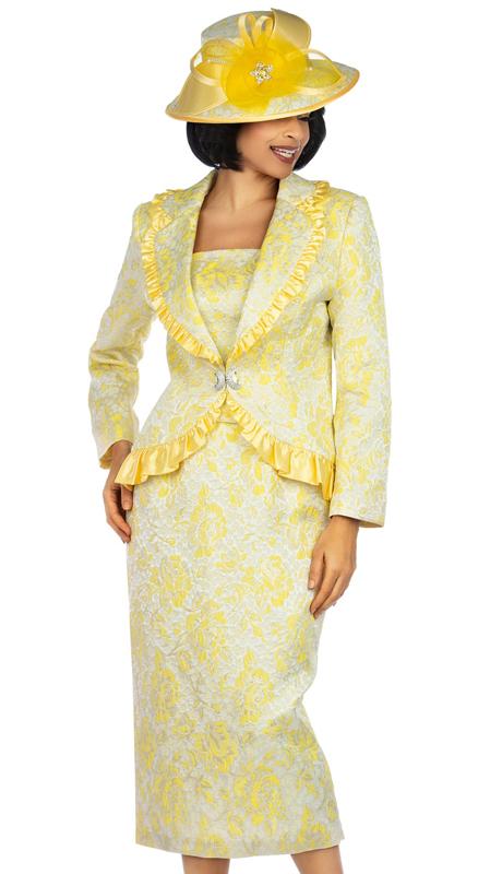 Giovanna 0937-YE ( 3pc Metallic Brocade Church Suit With Satin Ruffle )