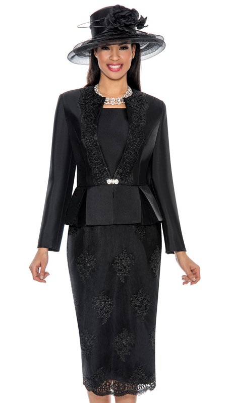 Giovanna G0844-BK ( 3pc Silk Look With Lace Ladies Church Suit With Beaded Embellishments, Pleated Peplum Jacket, Cami And Skirt )