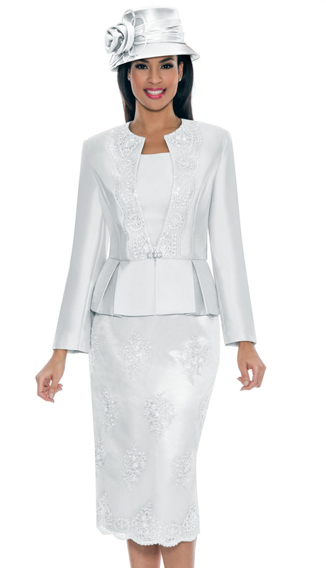 Giovanna G0844-WH ( 3pc Silk Look With Lace Ladies Church Suit With Beaded Embellishments, Pleated Peplum Jacket, Cami And Skirt )