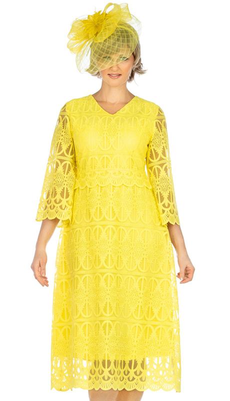 Giovanna D1520-YE ( 1pc Lace V-Neck Dress With Scallop Hems )