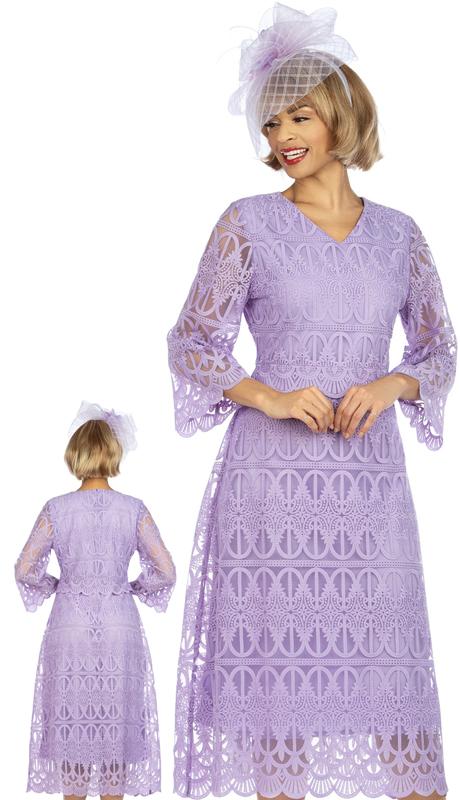 Giovanna D1520-LI ( 1pc Lace V-Neck Dress With Scallop Hems )