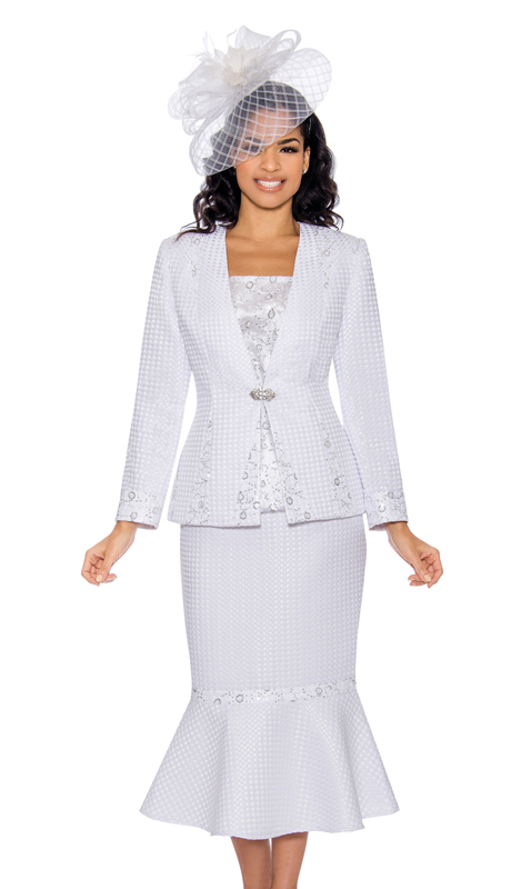 Giovanna 0912-W ( 3pc Womens Novelty Embossed Brocade Church Suit With Shimmering Beaded Detailing On Jacket, Skirt, And Cami )