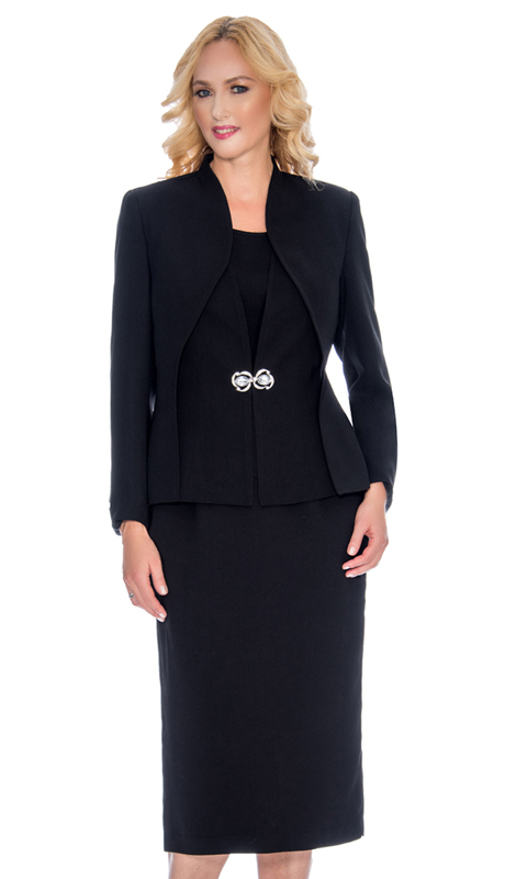 Giovanna 0919-BLK ( 3pc PeachSkin Ladies Church Suit With Layered Jacket And Rhinestone Clasp )