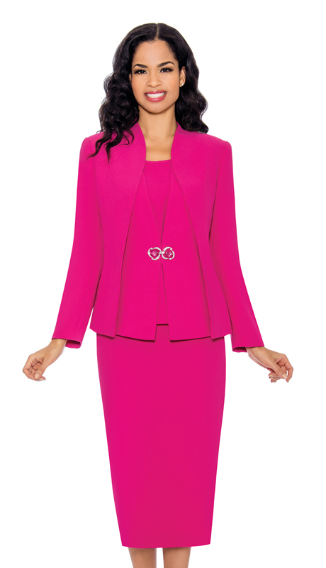 Giovanna 0919-F-CO ( 3pc PeachSkin Ladies Church Suit With Layered Jacket And Rhinestone Clasp )