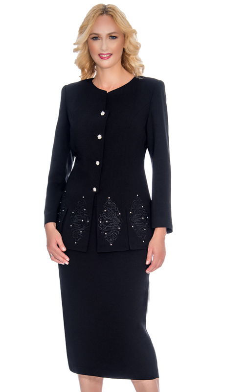 Giovanna 0920-BLK ( 2pc Womens PeachSkin Suit For Sunday With Beautiful Embroidery And Rhinestone Trim On Jacket )
