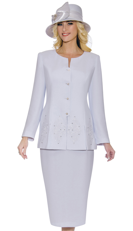 Giovanna 0920-W-CO ( 2pc Womens PeachSkin Suit For Sunday With Beautiful Embroidery And Rhinestone Trim On Jacket )