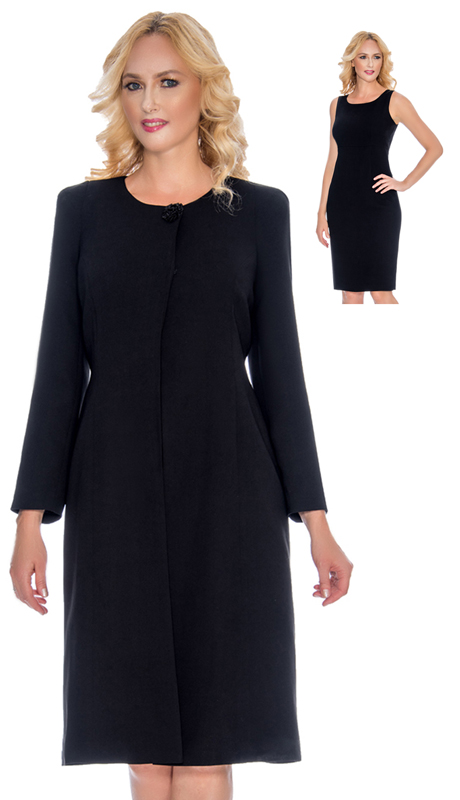 Giovanna 0921-BLK ( 2pc Womens Peach Skin Duster Jacket Dress For Church With Hidden Buttons And Stylish Brooch )