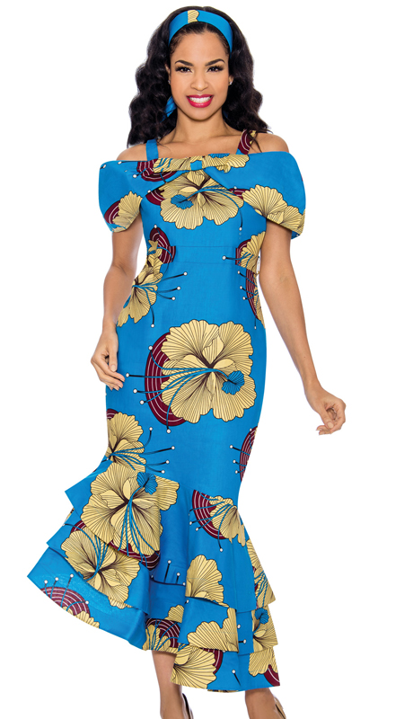 Giovanna D1327-R ( 1pc Womens Dress With Free Matching Headband, Portrait Collar, Floral Print, And Layered Bottom )