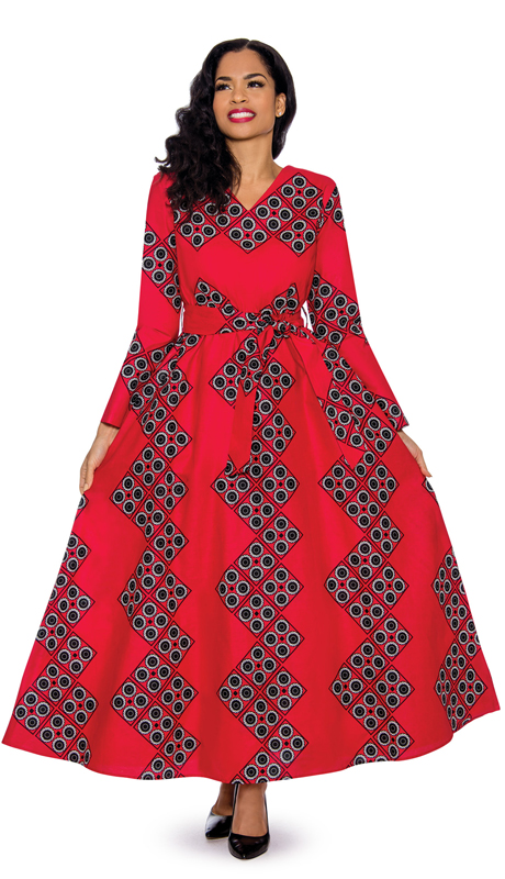 Giovanna D1331-R ( 1pc Ladies Dress With Abstract Geometric Pattern And Waist Tie )