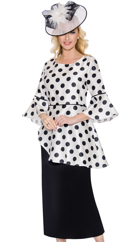 Giovanna D1350-CO ( 2pc Ladies Sunday Suit With Bold Polka Dot Pattern And Flare Sleeves )
