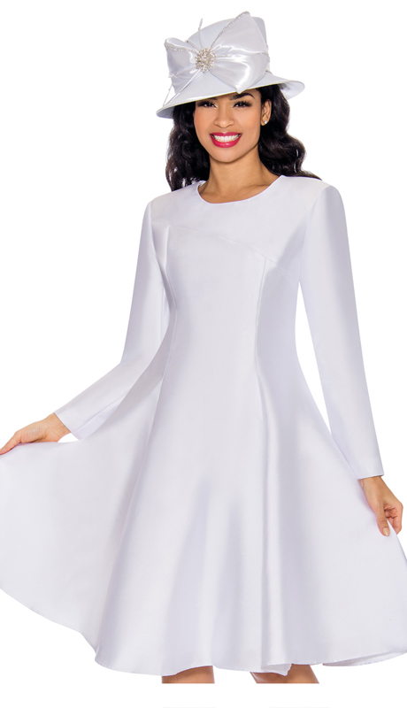 Giovanna D1504-W ( 1pc Silk Look Ladies Church Dress With Hi Low Stitching On Front )