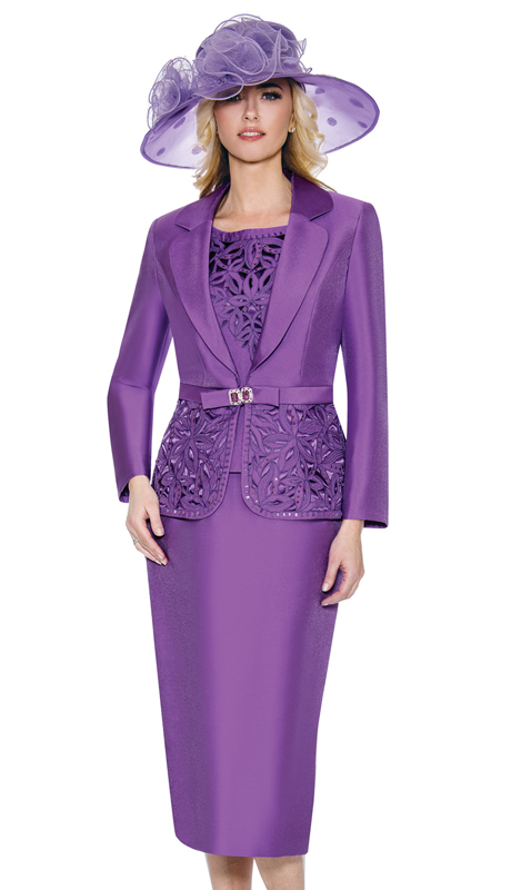 Giovanna 1007-DL-CO ( 3pc Silk Look Womens Church Suit With Ornate Cut Outs And Beading On Jacket And Cami )