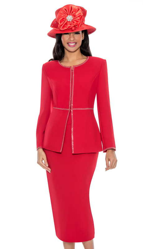 Giovanna 0652-R ( 3pc PeachSkin Ladies Suit For Church With Rhinestone Trim On Jacket And Sleeves )