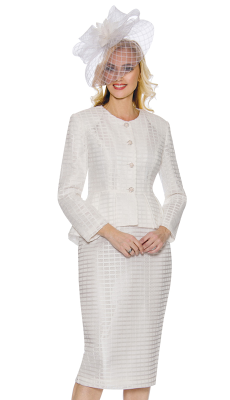 Giovanna G1087-W ( 2pc Womens Geometric Lace Suit With Peplum Jacket With Rhinestone Buttons )