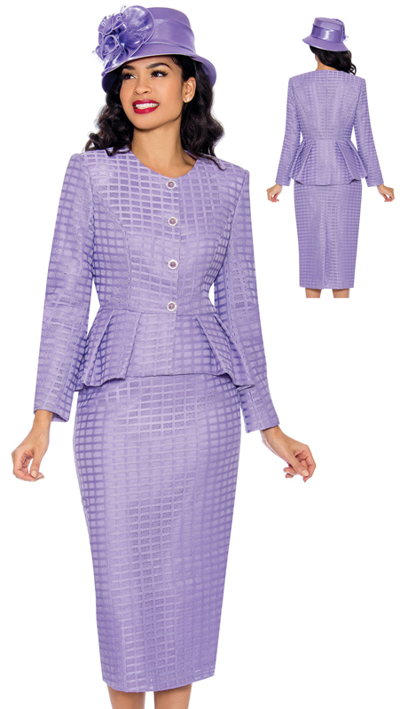 Giovanna G1087-L ( 2pc Womens Geometric Lace Suit With Peplum Jacket With Rhinestone Buttons )