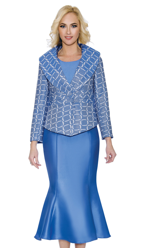 Giovanna G1086 ( 3pc Womens Shimmer Brocade Sunday Suit With Silk Look Flare Skirt And Unique Shawl Collar )