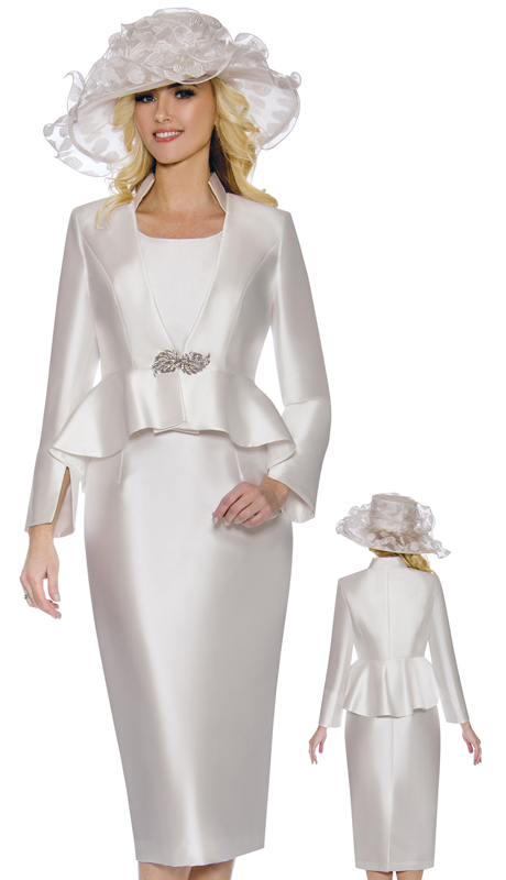 Giovanna G1085-W ( 3pc Womens Silk Look Skirt Suit With Peplum Jacket And Rhinestone Clasp Button )